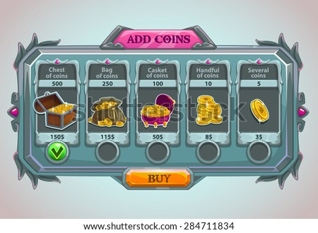 add coins panel  vector epic