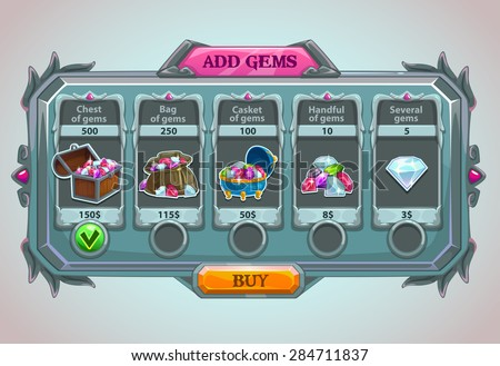 add gems panel  vector epic