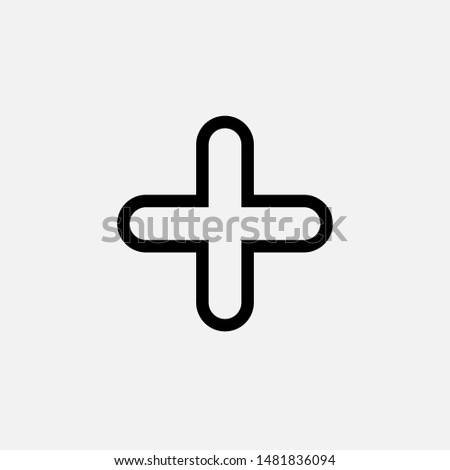 Add Icon. Plus, Positive or Increase Logo Vector, Sign and Symbol for Design, Presentation, Website or Apps Elements. Foto stock ©