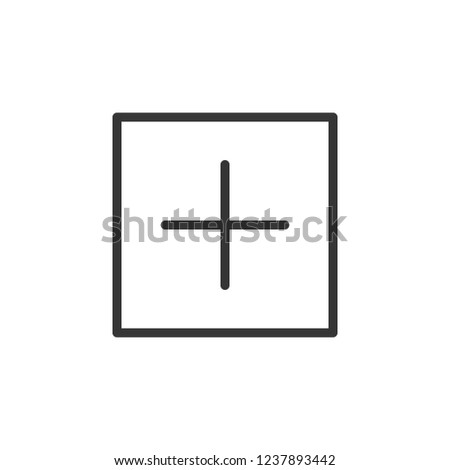 Add in square sign icon. Outline icon on white background. Add in circle sign Silhouette. Web site, page and mobile app design vector element.