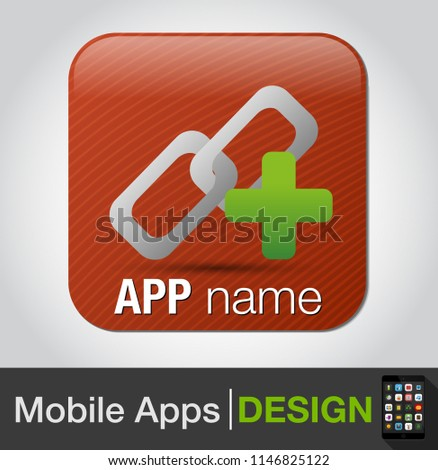 add link button - Two chains link union with plus sign, link building symbol flat icon