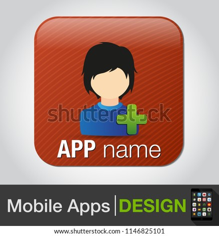 add male user - Vector social network button. Users icon design element