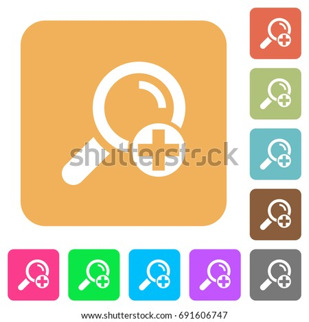 Add new search term flat icons on rounded square vivid color backgrounds.