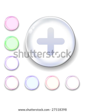 Add or plus icon on translucent glass orb vector button