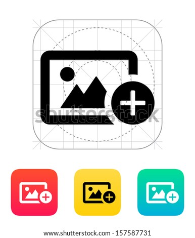 Add photo icon. Vector illustration.