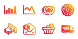 Add purchase, Atm money and Euro money line icons set. Loyalty points, Fan engine and Report diagram signs. Line chart, Free delivery symbols. Shopping order, Dollar currency. Finance set. Vector