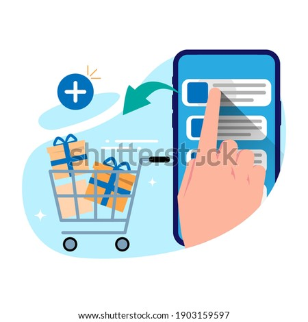 add to cart, online shopping from smartphone concept illustration flat design vector eps10. modern style graphic element for infographic, landing page, empty state ui, social media, etc Photo stock ©