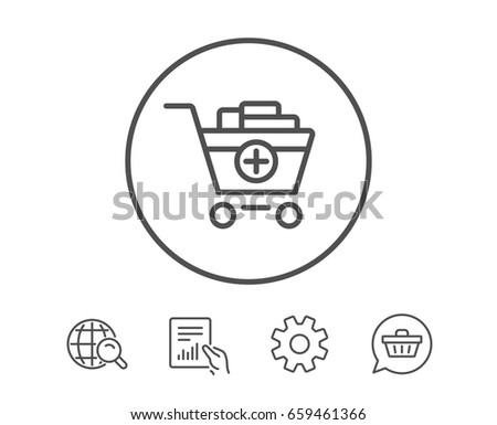 Add to Shopping cart line icon. Online buying sign. Supermarket basket symbol. Hold Report, Service and Global search line signs. Shopping cart icon. Editable stroke. Vector