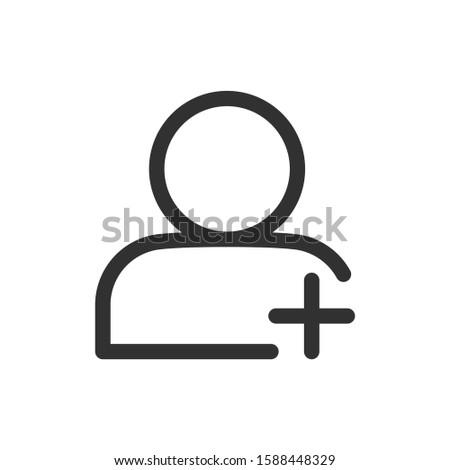 Add User, user, linear icon. Editable stroke
