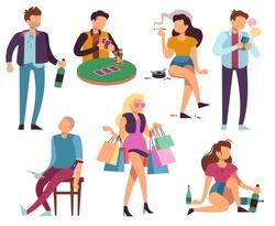 Addicted people. Bad habits alcoholism drug addiction smoking gambling smartphone shopping addictions. Unhealthy lifestyle vector set