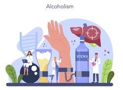 Addiction concept. Idea of medical treatment for addicted people. Life-threatening condition. Alcoholic addict. Isolated flat vector illustration