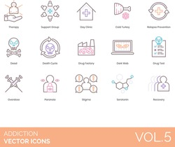 Addiction icons including therapy, support group, day clinic, cold turkey, relapse prevention, dead, death cycle, drug factory, dark web, test, overdose, paranoia, stigma, serotonin, recovery.