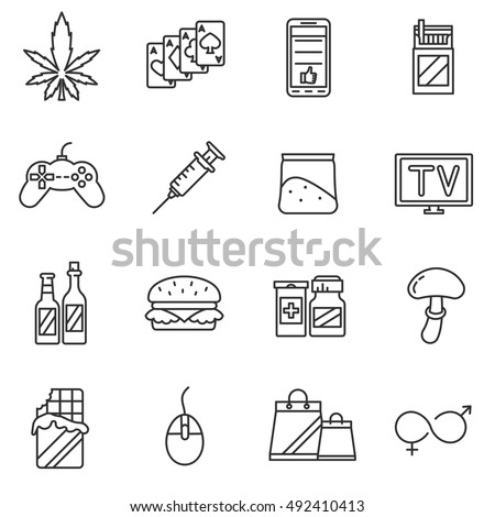 addiction icons set  line style