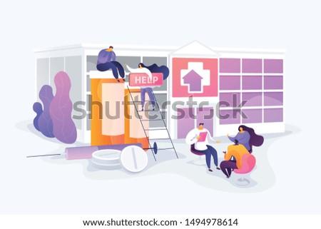 Addiction medical treatment. Alcohol abuse habit problem. Overdose prevention. Drug rehab center, experimental treatment, drug rehabilitation concept. Vector isolated concept creative illustration