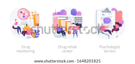 Addiction treatment, narcotic addict medication, recovery and rehabilitation. Drug monitoring, drug rehab center, psychologist service metaphors. Vector isolated concept metaphor illustrations.