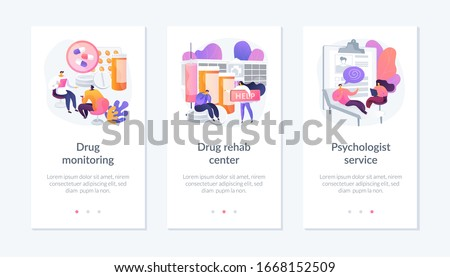 Addiction treatment, narcotic addict medication, recovery and rehabilitation. Drug monitoring, drug rehab center, psychologist service metaphors. Mobile app UI interface wireframe template.