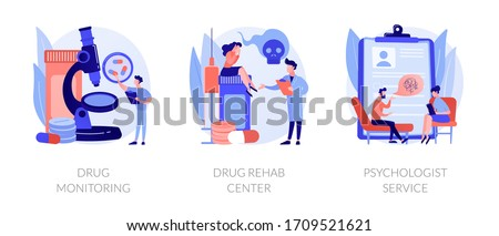 Addiction treatment, narcotic addict medication, recovery and rehabilitation. Drug monitoring, drug rehab center, psychologist service metaphors. Vector isolated concept metaphor illustrations. Сток-фото ©