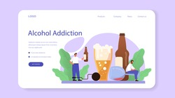 Addiction web banner or landing page. Idea of medical treatment for addicted people. Life-threatening condition. Alcohol addiction. Isolated flat vector illustration