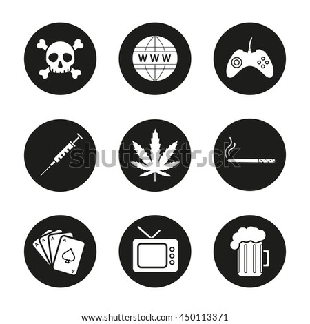 addictions and bad habits icons
