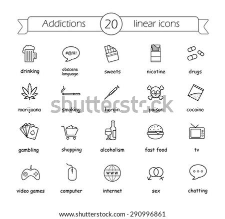 addictions linear icons set