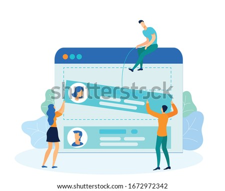 Adding Contacts to Phone Metaphor Illustration. Cartoon People Placing Profile Information on Smartphone Screen. Creating New Account, Adding Friends Personal Data, Photo to Call List