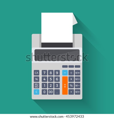 Adding counting machine, colorful illustration of calculator