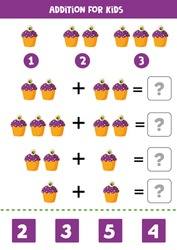 Addition for kids with spooky Halloween cupcake. Educational math game for kids. Solve equations. Printable worksheet.