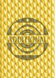 Additional gold badge. Scales pattern. Vector Illustration. Detailed.