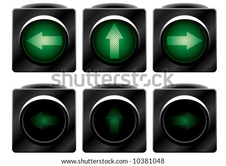 Additional traffic light. Variants. Vector illustration. Isolated on white background.