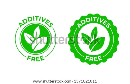 Additives free vector green organic leaf icon. Additives free no added, natural organic food package stamp
