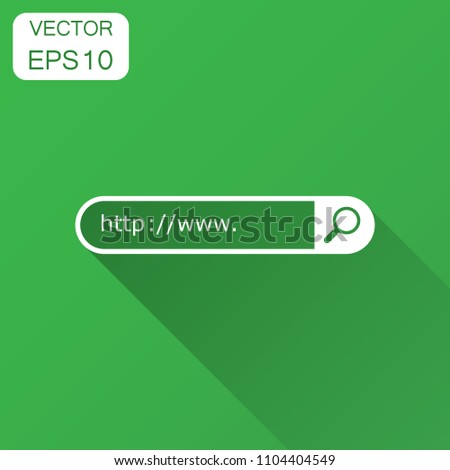 Address and navigation bar icon. Vector illustration with long shadow. Business concept search www http pictogram.