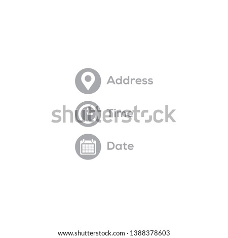 Address, date, time icons set vector illustration