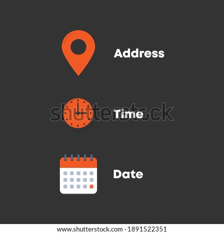 Address, time, date icons vector eps10 Foto stock ©