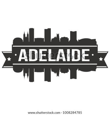 Adelaide Australia Oceania Skyline Silhouette Design City Vector Art Famous Buildings Stamp