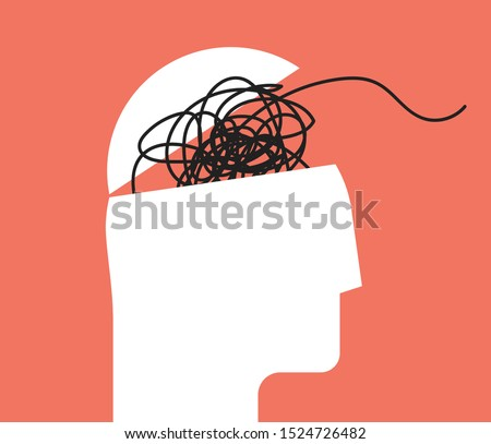 ADHD Attention disorder vector illustration of humans head silhouette with messy lines of thinks. Mental disorder icon. Vector illustration.  Foto stock ©