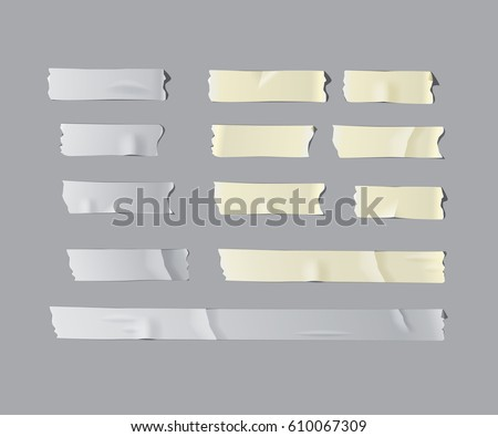 Adhesive and masking tape set. Vector realistic grey adhesive and white masking tape pieces.