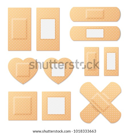 Adhesive bandage elastic medical plasters vector set. Illustration of medical plaster, elastic bandage patch stock photo