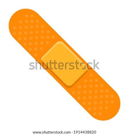 Adhesive plaster bandage.Medical plaster.First aid band.Wound plasterer or bandaged patch.Vector flat illustration.