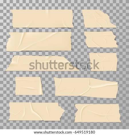 Adhesive sticky tape isolated on transparent background vector set #649519180
