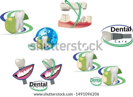Adhesive symbols for dental clinic dental clinic