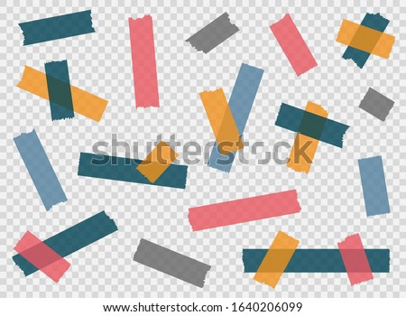 Adhesive tape, sticky paper stripes. Colorful stripes and pieces of duct paper, or washi paper. Transparent duct tape in different shapes. Vector