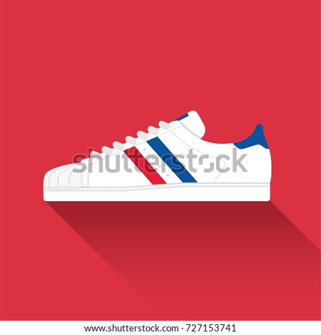 Adidas Superstar. Old school classic sneaker. Sport wear for men and women. Flat design. Vector illustration.
