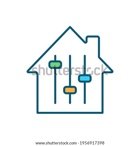 Adjustable-rate mortgage RGB color icon. Variable-rate mortgage. House purchasing. Fixed initial interest rate. Refinancing an existing home loan. Adjustment period. Isolated vector illustration Foto stock ©
