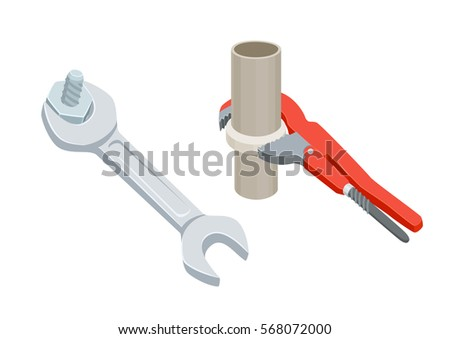 Adjustable wrench or spanner tighten the nut or screws. Repair tool.  Plumbing, mechanic, engineer instruments. Home support service vector illustration isolated on white.