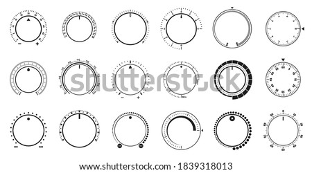 Adjustment dial. Volume level knob, rotary dials with round scale and round controller. Min and Max radial selector vector graphic set Stockfoto ©