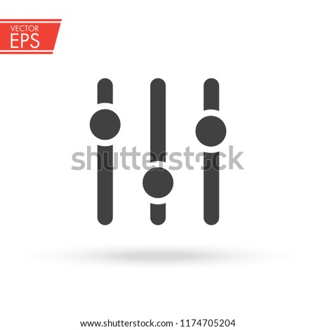 Adjustment music icon. Volume panel sign. Audio mixer adjusting symbol. Sound balance illustration. Level tuner emblem. Musical setting switch concept. Studio mixing label.