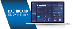 Admin panel design, dashboard interface. Platform application for Analytic and financial distribution. Business dashboard with infographics, data, charts and diagrams. Dark blue admin panel. Vector UI