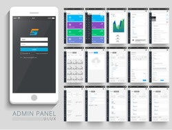Admin Panel UI, UX and GUI template layout including different screens for Responsive E-commerce Website, Webpage and Mobile Apps.