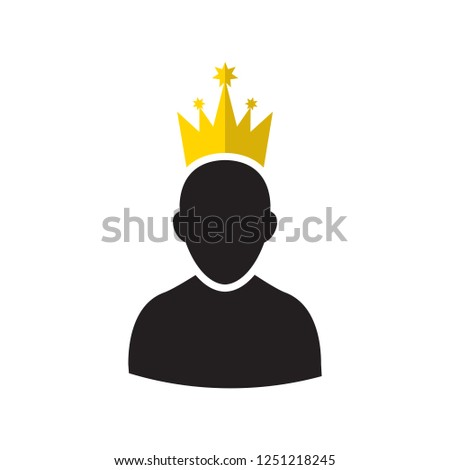 Admin Privileged Profile with Gold Crown Vector Illustration. VIP King User Icon in Flat Style. Priority Customer Concept or Logo