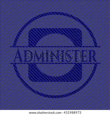 Administer badge with jean texture